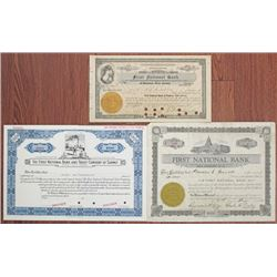 New Jersey Banking Stock Certificate Trio, ca.1915-1930