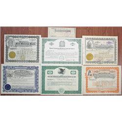 New Mexico, Minnesota, South Dakota Banking Stock Certificate Group of 7, ca.1880-1929