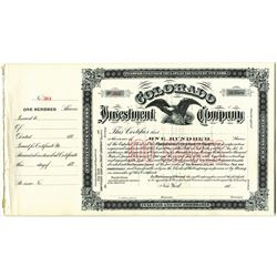 Colorado Investment Co., 1880's U/U Stock Certificate Group.
