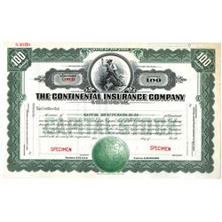 Continental Insurance Co. 1920-30's Specimen Stock Certificate