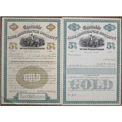 Equitable Life Assurance Society Bond Pair, 1880-90's Specimen & Remainder Bond.
