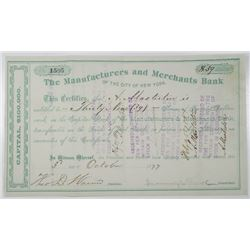 Manufacturers and Merchants Bank of the City of New York 1877 I/U Stock Certificate