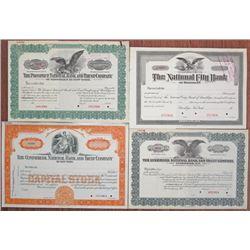 New York Banking Specimen Stock Certificate Quartet, ca.1900-1930's.