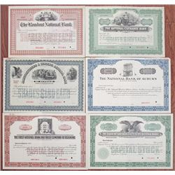 New York Banking Stock Certificate Group of 6 Specimens, ca.1900-1940.