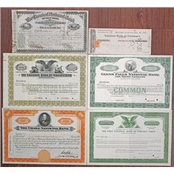 New York Banking Stock Certificate Group of 6, ca.1875 to 1940