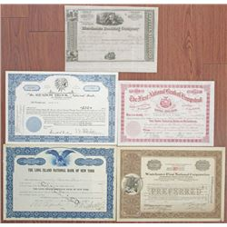 New York Banking Stock Certificate Quintet, 1840's to 1960.