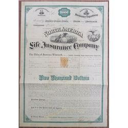 North America Life Insurance Co. 1872 Unissued Policy With 50 Cents Imprinted Revenue