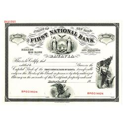 NY. First National Bank of Batavia.  ca.1900. Stock Certificate Specimen SBNC