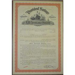 Provident Savings Life Assurance Society of New York, 1901 Insurance Policy Specimen Bond