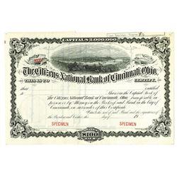 Citizens National Bank of Cincinnati, Ohio, 1900-20 Specimen Stock Certificate
