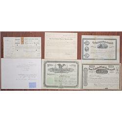 Ohio Banking Stock Certificate and Bond Quintet, ca.1906-1935.