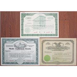 Oklahoma and Arkansas Bank Stock Certificate Trio, ca.1910-1940