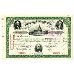 Bank of North America 1900-20's Specimen Stock Certificate