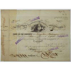 Franklin Fire Insurance Co. of Philadelphia 1840 I/C Stock Certificate