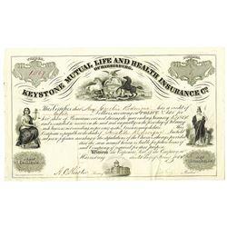Keystone Mutual Life and Health Insurance Co., of Harrisburg, 1854 Scrip Certificate.