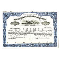 Miners National Bank of Pottsville 1981 Specimen Stock Certificate