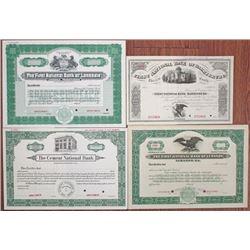 Pennsylvania Banking Specimen Stock Certificate Quartet, 1900-1940.