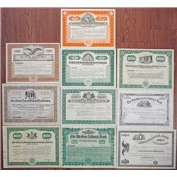 Pennsylvania Banking Stock Certificate Group of 10. ca.1903-1933
