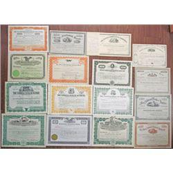 Pennsylvania Banking Stock Certificate Group of 16 I/U, I/C and U/U ca.1867-1936