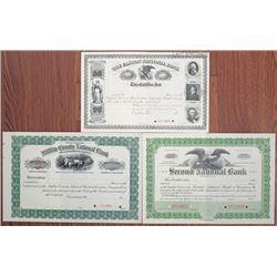 Pennsylvania Banking Stock Certificate Trio, ca.1900-1920