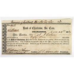 Bank of Charleston 1869. I/U Stock Certificate.