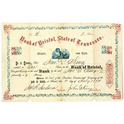 Bank of Bristol, State of Tennessee 1874 I/U Stock Certificate S/N 2.