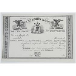 Union Bank of Tennessee, ca.1830s Proof Stock Certificate.