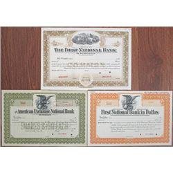 Texas Banking Specimen Stock Certificate Trio, ca.1900-1930.