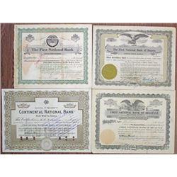 Texas Banking Stock Certificate Quartet, ca.1916-1937.