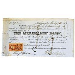Merchants' Bank 1863 I/C Stock Certificate