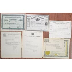 Vermont. Minnesota. Wisconsin Stock Certificate Group of 6, ca.1875 to 1924