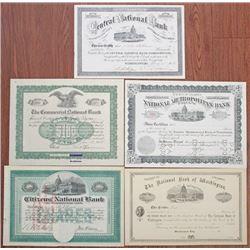 Washington, D.C. Banking Stock Certificate Quintet, ca.1903-1930.