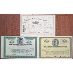 Washington, D.C. Banking Stock Certificate Trio, ca.1877-1920.