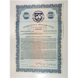International Monetary Fund 1981 Specimen Bond