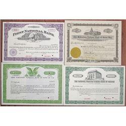 Wisconsin Banking Stock Certificate Quartet, ca.1900-1930