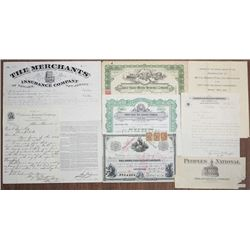 Insurance Stock and Ephemeral Group Lot, ca.1884 to 1954.