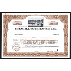 MN. Theo.Hamm Brewing Co., 1940-50's Specimen 50,000 Shares Stock Certificate Unc. ABN
