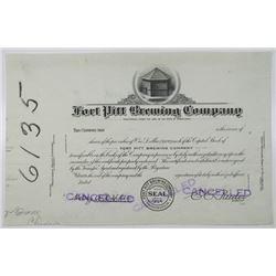 Fort Pitt Brewing Co., 1930-40's Progress Proof Stock Certificate