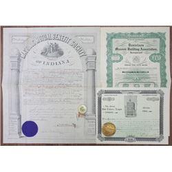 Masonic Stock, Bond & Insurance Certificate ca.1874 to 1927 & Masonic Pin with Ribbon.