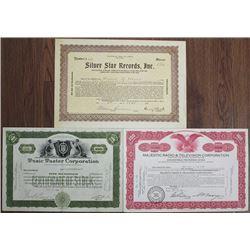 Music and Radio Stock Certificate Trio, ca.1923 to 1946.