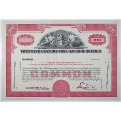 Twentieth Century-Fox Film Corp., 1952 Specimen Stock Certificate