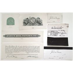 Warner Bros. Pictures, Inc., ca.1930-40's Proof Stock and Bond Production Material.