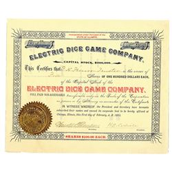 Electric Dice Game Co. 1893 I/U Stock Certificate
