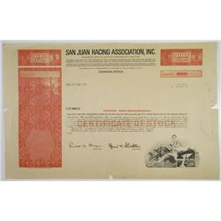Puerto Rico. San Juan Racing Association, Inc., 1960-70's Proof Stock Certificate