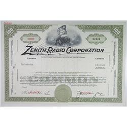 Zenith Radio Corp, 1940-50's Specimen Stock Certificate 100 Shrs ABN Olive