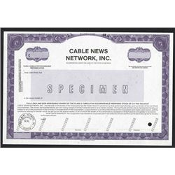 "Cable News Network, Inc. ""CNN"" 1988 Specimen Stock Certificate"