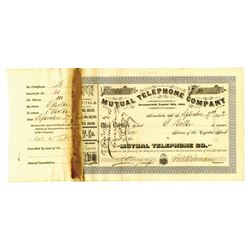 Mutual Telephone Co. 1892 I/C Stock Certificate