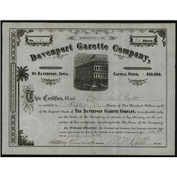 Davenport Gazette Co. 1882 I/U Serial #1 Stock Certificate