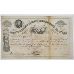 New Orleans & Ohio Telegraph Lessees, 1858 Stock Certificate