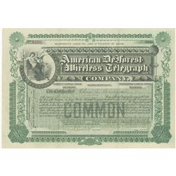 American DeForest Wireless Telegraph Co., 1904 I/U Stock Certificate